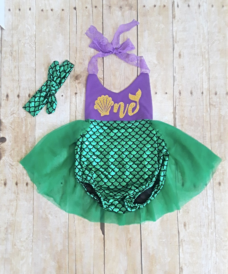 8a2432defa5 First birthday 1st Mermaid romper skirted tutu outfit