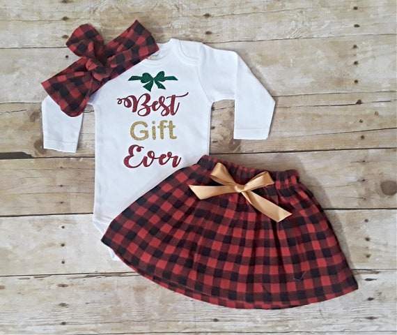 62499223741a Best gift Ever Baby Girl First Christmas Buffalo plaid outfit | Etsy