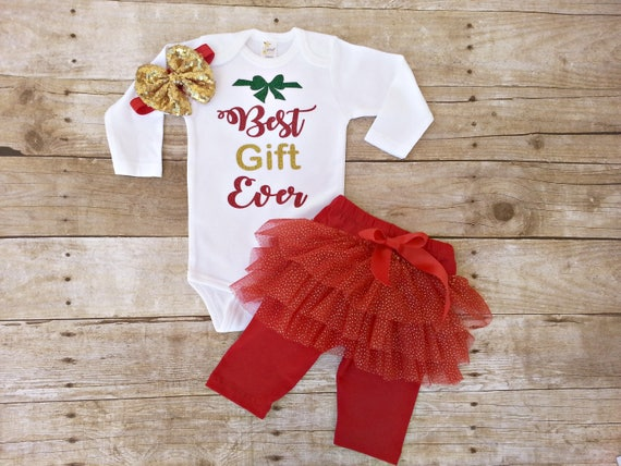 c51282b2f98a Best Gift Ever Christmas Baby Girl outfit Glitter bodysuit | Etsy