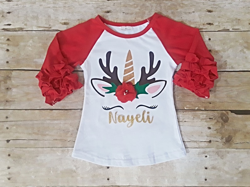 One shirt Second Birthday Christmas Unicorn shirt Third 1st  raglan icing shirt ruffle shirt. First Fourth