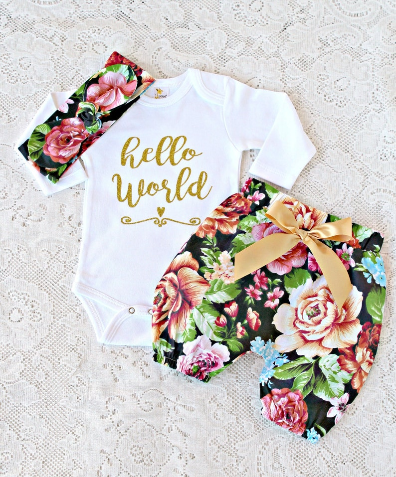 7d4df11ee SALE Hello World Outfit baby newborn take home set gold | Etsy