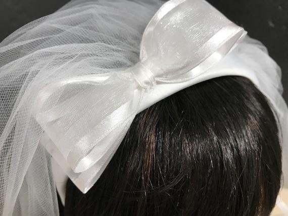 NEW White First Communion Veil Band Shabby Chic Flowers w//Pearls Headband Veil