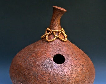 Ceramic Udu Drum with Beaded Collar
