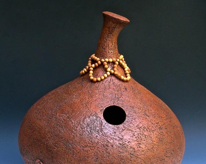 Ceramic Udu Drum with Beaded Collar