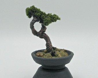 Casual Style Flocked Copper Wire Bonsai Tree in Handmade Black Stoneware Container with Base