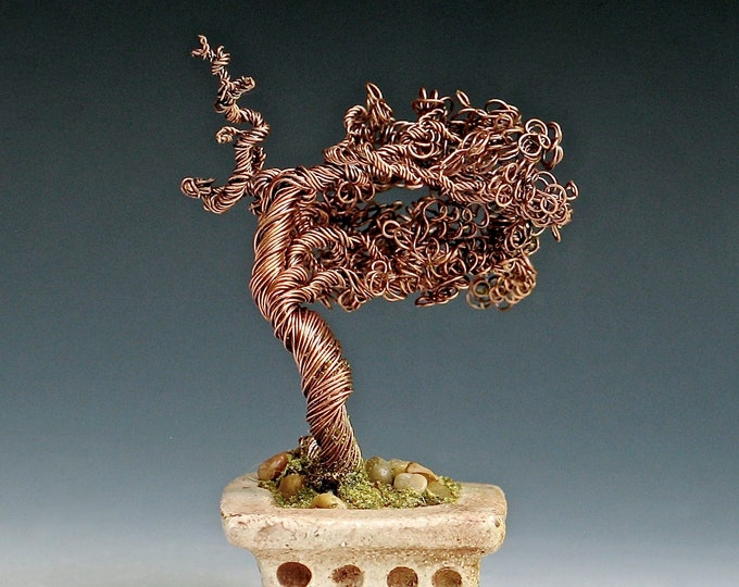Copper Wire Bonsai Tree in Hand-built Stoneware Container