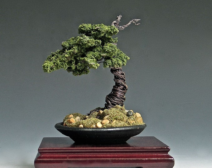 Copper Wire Bonsai Tree with Rosewood Stand
