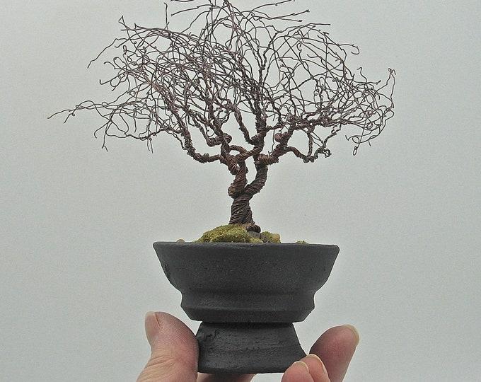 Copper Wire Bonsai Tree Sculpture in Hand-thrown Stoneware Container
