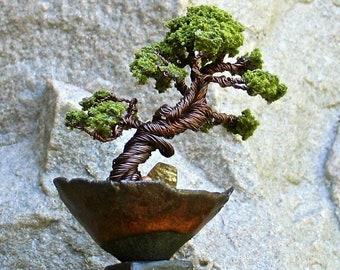 Casual Bonsai Tree Copper Wire Sculpture in Handmade Pinch Pot