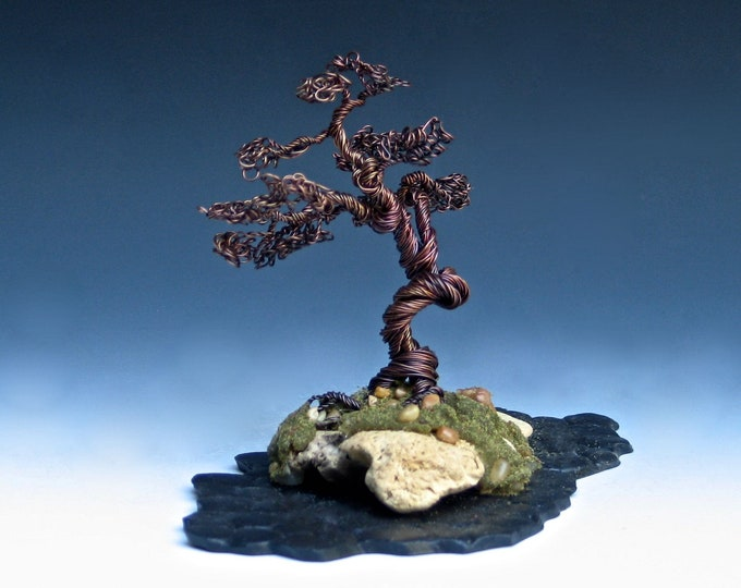 Copper Wire Bonsai Tree on Driftwood with Ceramic Cloud Base