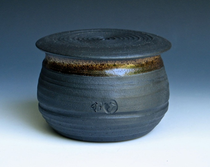 Black French Butter Keeper With Speckled Glaze