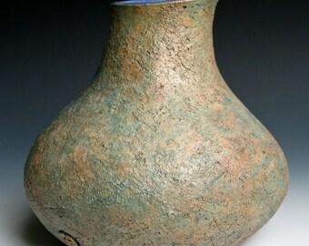 Blue, Green and Bronze Stoneware Vase