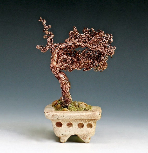 Copper Wire Bonsai Tree In Hand Built Stoneware Container Etsy