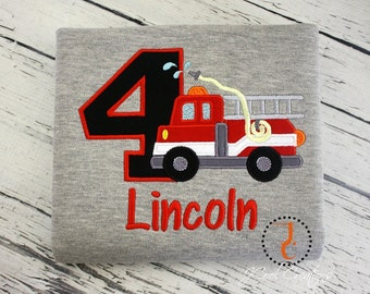 Firetruck Birthday Shirt - Fire Truck Birthday, Fire Truck Party, Boys First Birthday Outfit, Boys Birthday Shirt, Toddler Boys Birthday