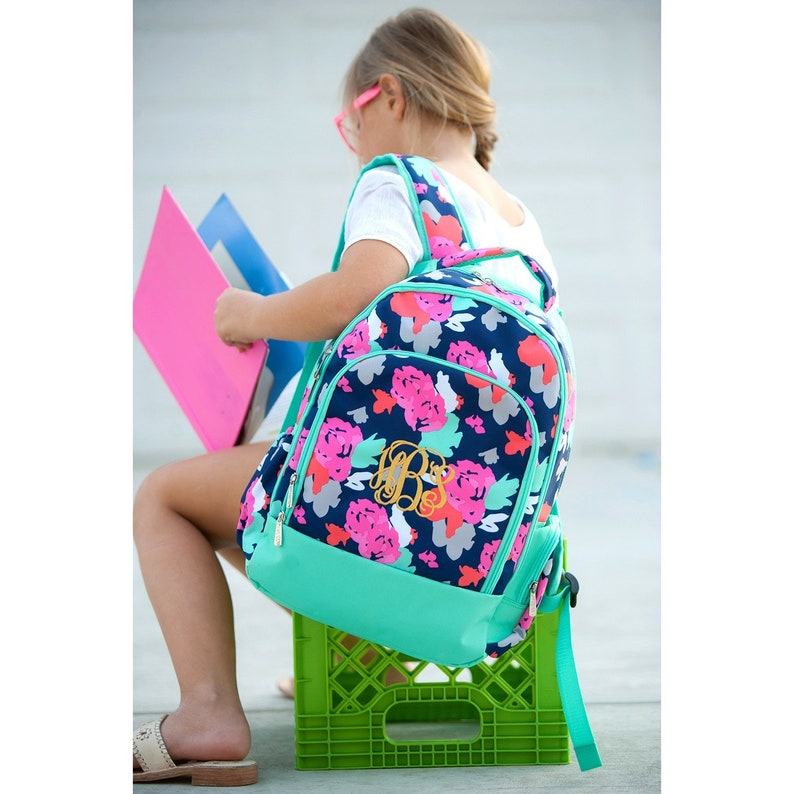 Bookbag Personalized Backpacks Amelia Book Bag Diaper Bag School Supplies Monogram Backpack Pencil Case Monogram Lunch Bag Back To