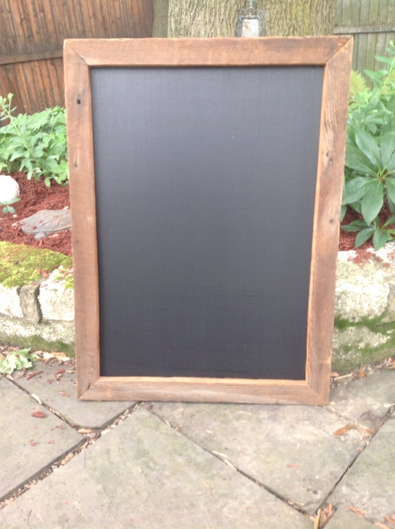 Items similar to Chalkboard with Upcycled Barn Board Frame ...