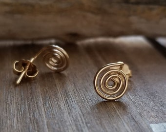 Gold Spiral Earrings - Tiny Swirl Studs - Dainty Earrings - 14k Gold Filled - Minimalist - Simple - Rose or Yellow