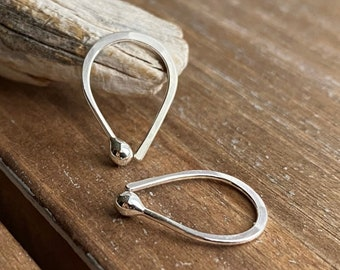 Silver Hoops, Teardrop Earrings, Hammered, Argentium Silver, Small, Dainty, 20 gauge, Arc, Cartilage, Lobe, Ball Hoops