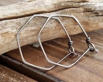 """Hoop Earrings, Hexagon Hoops, Sterling Silver Antiqued Earrings, Oxidized Geometric Hoops, Everyday Hoop Earrings - 1"""" 20g Hoops"""