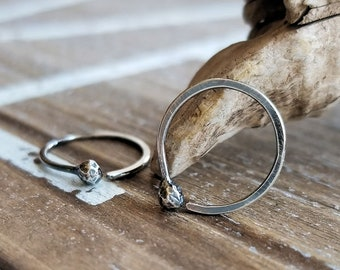 Oxidized Silver Hoops, Rustic Earrings, Sterling Silver Hoops, Antiqued, Hammered, Simple, 18g or 20g, Choice of size