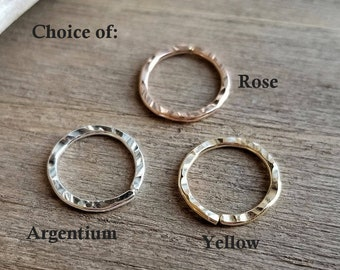 Hammered Textured Nose Ring, Endless Hoop, Cartilage Earring, 18 gauge Argentium Silver or 14k Gold Filled Yellow or Rose, Artisan Jewelry
