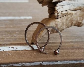 Hammered Copper Hoops, Rustic Copper Earrings, Open Hoops, Oxidized, 20 gauge, Minimalist, 14mm ID