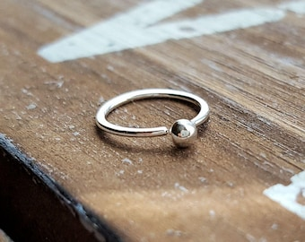 Nose Ring, 20g Argentium Silver, Ball Hoop Earring, Lobe, Cartilage Piercing Jewelry - 7mm, 8mm, 9mm, 10mm