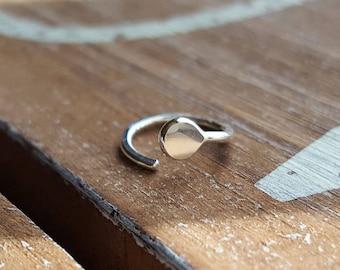 Nose Ring, Silver Nose Stud Hoop, 18g Argentium Silver Earring, Cartilage Hoop - Artisan Jewelry