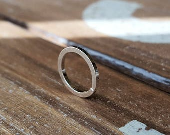 Square Nose Ring, Sterling Silver 18g Endless Hoop Earring, Cartilage, Septum, Artisan Body Jewelry
