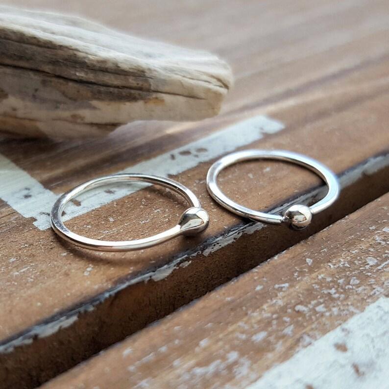a84df5b0e Ball Hoop Earrings Argentium Silver Hoops 18 gauge Earrings | Etsy
