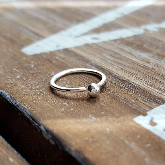 Nose Ring Argentium Silver Hoop 20 Gauge Ball Hoop Earring Etsy