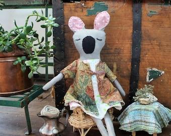 Eco friendly stuffed Koala, eco toy, plushie, Koala, handmade, cloth doll, rag doll, dress up doll, upcycled, repurposed, earth friendly