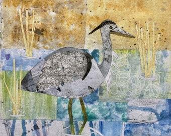 Watercolor painting Great Blue Heron
