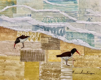 Watercolor painting Oystercatchers