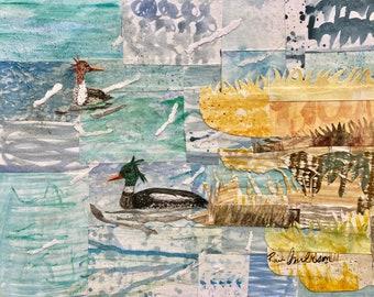 Watercolor painting Mergansers