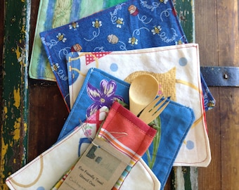 Zero waste lunch kit, kids lunch utensils, bring your own, eco friendly lunch, cloth napkins, bamboo fork and spoon, kids picnic
