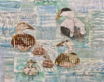 Watercolor painting Common Eiders