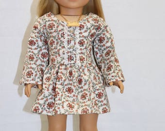 Cream floral Dress, 18 inch Doll clothes.