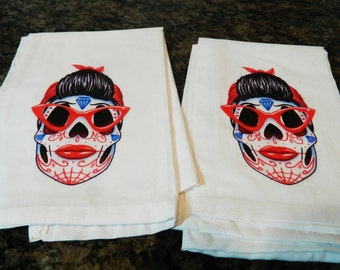 Rockabilly Suger Skull  lowbrow hot rod rat rod rockabilly psychobilly retro kitchen towels