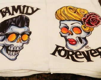 Family Forever  lowbrow hot rod rat rod rockabilly psychobilly retro kitchen towels