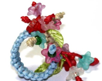 Blue and multicolor flowers Ring gift idea for Woman girl Big ring Birthday present floral ring Unique design Trend Fashion Ring adjustable