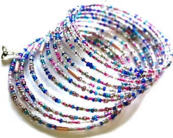 Memory Wire Bracelet - 11 laps of hundred tiny glass beads - Blues, Pinks -  Triquetra - Multi strands - Present for a Friend - Blue