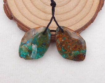 New 5.9g Hot Sales Chrysocolla Earrings Y6348 Handmade Gemstone for Jewelry Making 34x11x5mm Woman/'s Accessories