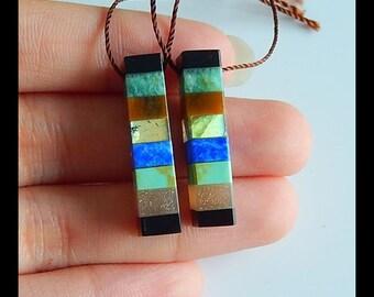 Popular jewelry,Handmade Natural Howlite,Obsidian Intarsia Gemstone Earrings,21x2mm,4.2g T3556