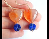 New,Unique Cherry Blossom Agate With Lapis Lazuli Carved Flower Gemstone Design Earring Bead,Gorgeous Set.18x8mm,9x5mm,8.6g -T6112