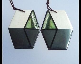 Wholesale gemstone Intarsia Earring Pair,Howlite,Obsidian,Green Zebra,Serpentine,Hematite Intarsia Earring set,41x33x4mm,27.9g