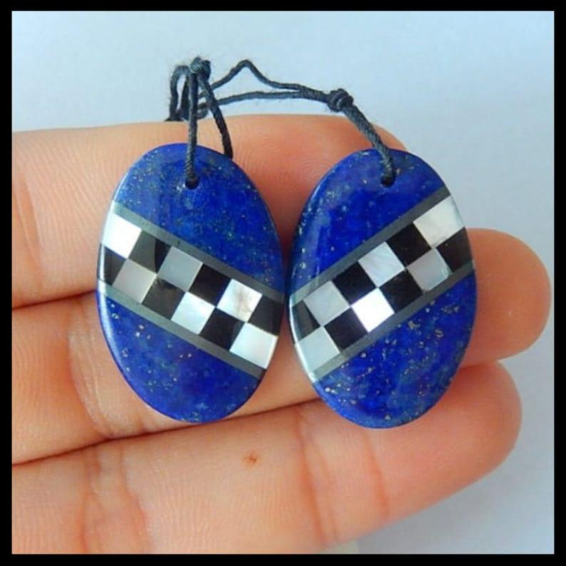 New Design-Lapis Lazuli,Shell,Obsidian Intarsia Earring set,26X17X3mm,5.4g TOPM0622