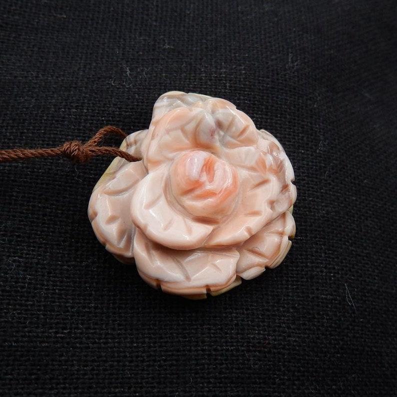 28x26x10mm Hot Sale Pink agate Gemstone Flower Pendant Bead 7.4g B2803