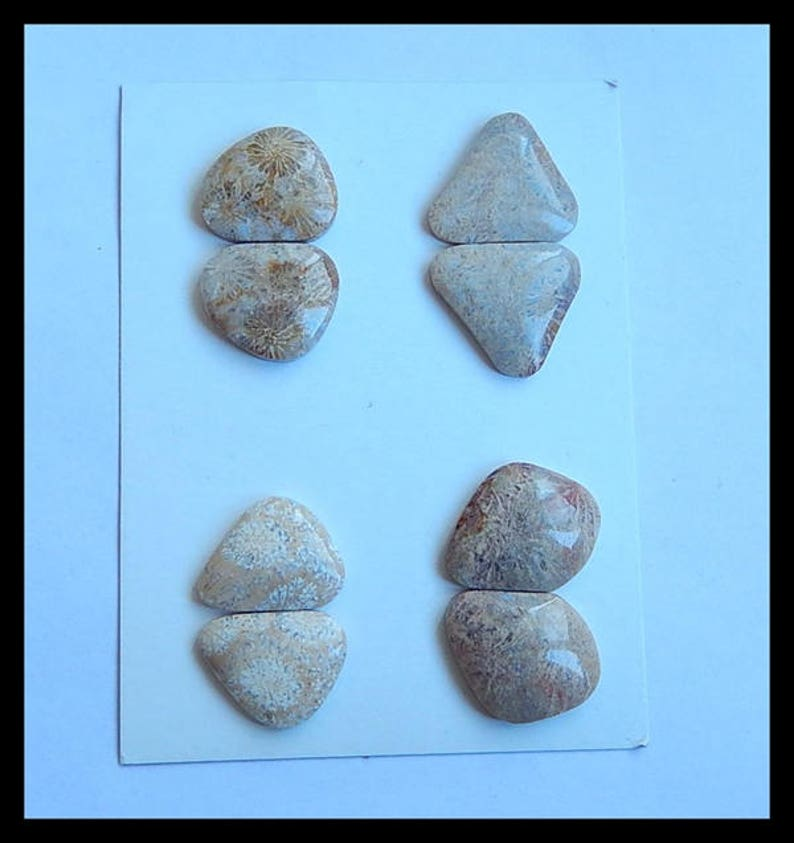 SALE,4 Pairs Indonesian Fossil Coral Gemstone Cabochons,21.1g Cpa514