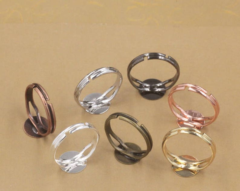 Round Ring Blanks Hot Sale!!10pcs Adjustable Ring Blank with 6mm 8mm  10mm  12mm  Base Setting Glass Domes Ring Settings